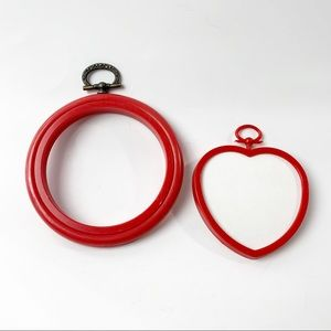 VTG red plastic mini embroidery hoops set of 2